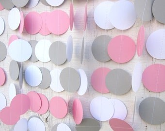 Pink, Gray, and White Paper Circles Garland, Bridal Shower, Baby Shower, Wedding, Photo Prop, Shabby Chic, First Birthday Party