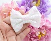 Mini White Pixie Sparkle Bow