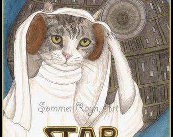 Princess Leia, Star Wars, Obi Wan Kenobi, You're my only hope,  card or print portrait - Cats, Watercolor, Item #0562a