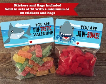 Shark Valentine Treat Bags, Shark Treat Bags, Shark Valentines, Shark Classmate  Valentines,
