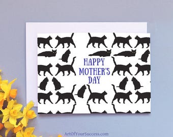 Cat Mother's Day Card, Mother's Day Cat Card, cat mum card, cat mother,  Happy Mother's Day Card