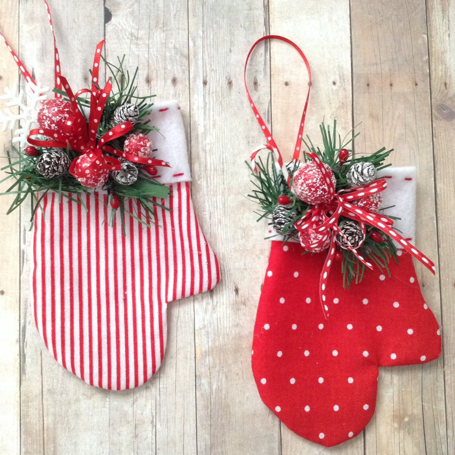 Christmas Tree Ornaments / Xmas Fabric Handmade By