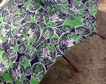 Vintage RARE Lilly Pulitzer Men's Stuff Umbrella/Vintage Fabric Lilly Pulitzer Umbrella/Lilly Pulitzer Lion Umbrella