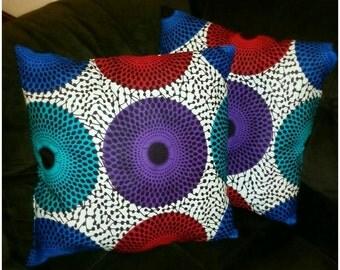 Ankara African Print Throw Pillows  (Set of 2)