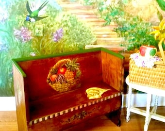 Wooden Bench Furniture Art Whimsical Church Pew Mud Room Trompe L'Oielle Hand Painted Fruit Basket Still Life Shabby Chic Bohemian
