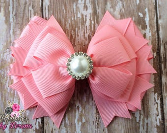 Pink Layered Hairbow with Pearl Rhinestone Center