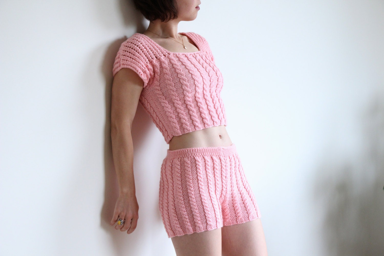 Knitting Pattern For Underwear : fashion knit lingerie women knitted underwear pink knitted