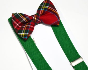 Christmas Bow tie Christmas Red and Green Plaid Bow tie And Green Suspender Set