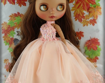 Blythe Dress,Doll Handmade Outfit Gown Dress.