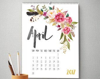 2017 Monthly Wall Calendar, 11x14, Wall Calendar, Watercolor Flower Gifts for Her  (cal0001)