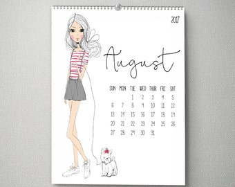 2017 Monthly Wall Calendar, 11x14, Wall Calendar, Watercolor Flower Gifts for Her (cal0003)