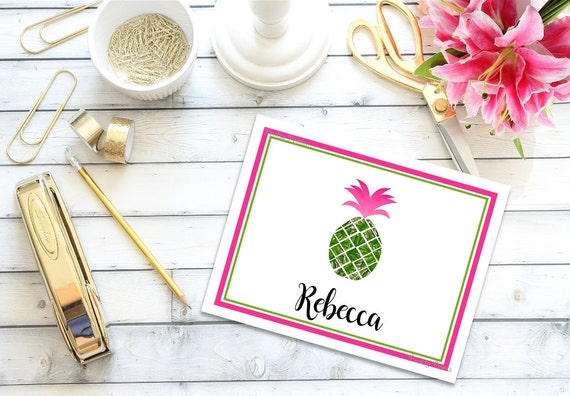 Pineapple Note Cards - Preppy Note Cards - Pine apple, Custom Note Cards, Thank You Notes, Personalized note cards