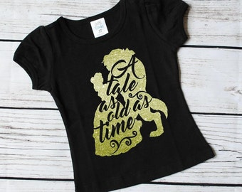 Beauty and the beast inspired girls glitter vinyl shirt, belle vinyl shirt, belle girls shirt, girls tops, girls clothing, girls shirts
