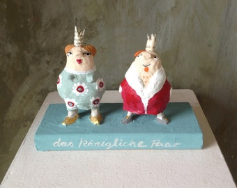 Paperart, Papermaché, royal couple king and queen