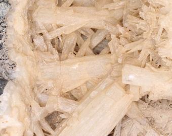 Fantastic Large Colemanite Acicular Crystal Bundles on Matrix