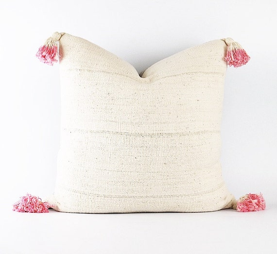 Authentic African White Mudcloth Textile Pillow Cover With Pink Dip-Dyed Tassels Various Sizes