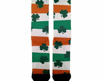 Flag n' clover socks; Irish socks; St. Patricks Day Socks