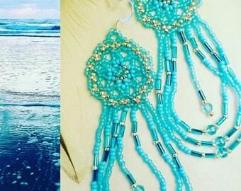 Ocean Mandala Dangle Earrings