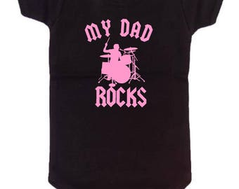my dad rocks drums cool band drummer custom baby infant bodysuit color and size black with pink girls great shower gift new