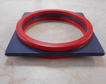Vintage Red and Blue Square Shaped Bangle Bracelet