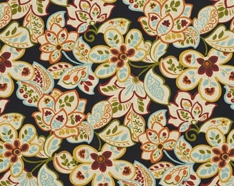 Green Blue Gold Red and Orange Vibrant Leaves And Flowers Indoor Outdoor Upholstery Fabric By The Yard | Pattern # A227