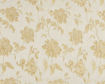 Gold and Champagne Large Scale Flowers and Leaves Damask Brocade Upholstery Fabric By The Yard   Pattern # B0720B