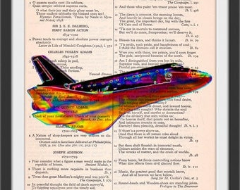 Space Shuttle Solarized Dreams Kitsch Art Beautifully Upcycled Vintage Dictionary Page Book Art Print