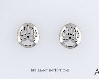 925 Sterling Silver Bear Paw Design, Choice of Charm, Post, Dangle Earrings or Necklace - BI-003