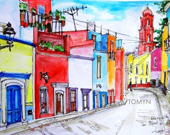 San Miguel de Allende. Mexico. Guanajuato. Original watercolor painting.