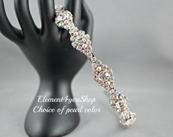 Rhinestone headpiece, Bridal rhinestones headband tiara, Wedding pearl head piece, Silver metal headband, Wedding hair accessories, Handmand
