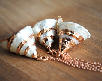 Rose Gold Necklace. Rose Gold Shell Necklace. Rose Gold Plated Necklace. Trochus Shell. Rose Gold Filled Chain. Beach Necklace.