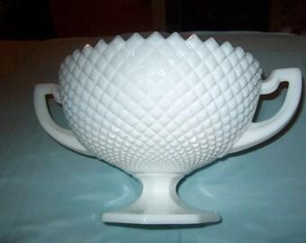 Antique Vintage Westmoreland Glass Handled Compote, English Hobnail, Milk Glass, Large