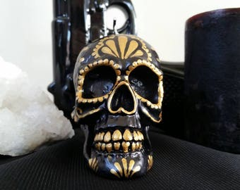 Hand painted dia de los muertos/day of the dead candle  gold