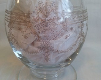 Vase glass vase etched glass vase