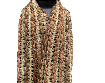 Vintage long thick warm muffler in acrylic wool in shades of brown.