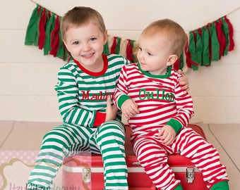 Embroidered Christmas Pajamas - Family Christmas Pajamas - Matching Christmas Pajamas - Girls And Boys Pajamas