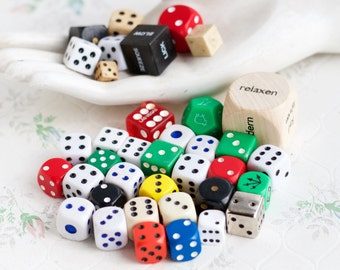 Colorful Dice Instant Collection of 37 - Altered Arts Embellishments - Jewelry assemblage Componet