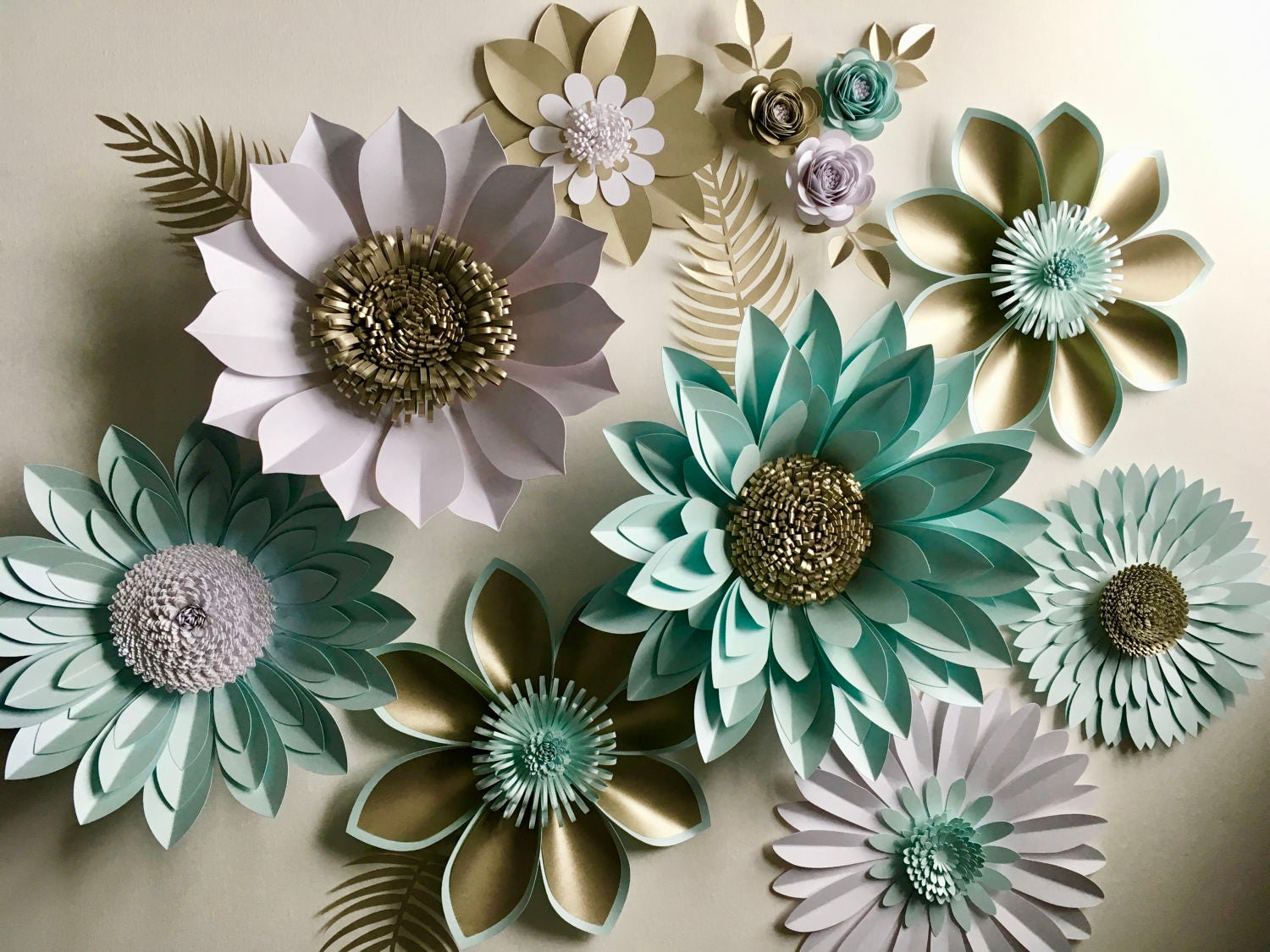 Pearl And Aquamarine Giant Paper Flower Backdrop Wall