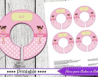"Closet Dividers Organizer Baby/Nursery Printable Ballerina - Instant Download - Closet Divider Template 8.5x11"" sheet - Printable"