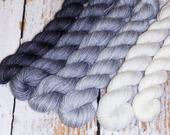 Gradient Fingering Yarn Set Gray from Fog to Charcoal
