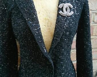 Ladies black checked sequin jacket