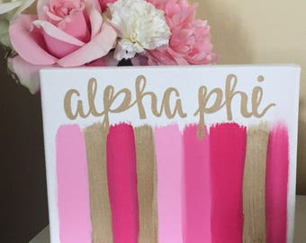 Alpha Phi Sorority Canvas // Sorority Painting // Chic Decor // Pink and Gold Painting // 8x10