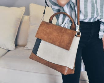 La Chic Parisienne Collection ivory brown blue mixed cube chic preppy look hand bag