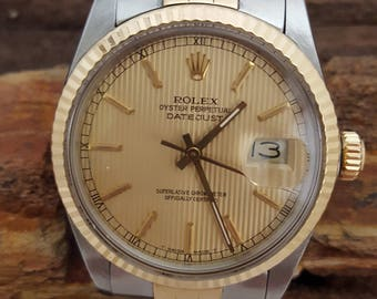 Rolex Two-Tone Datejust 18k & Stainless w/Champagne Tapestry Dial -EB655
