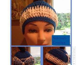 Crocheted messy bun beanie
