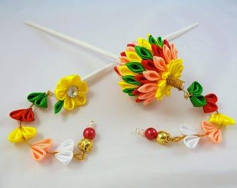 Kanzashi Japanese geisha hair stick.  Kimono accessories 2pc.