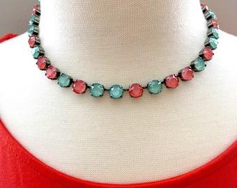 New • Mint & Mango • 2018 Swarovski Colors • Swarovski Crystal Necklace • Vibrant Shades of Coral and Mint Green