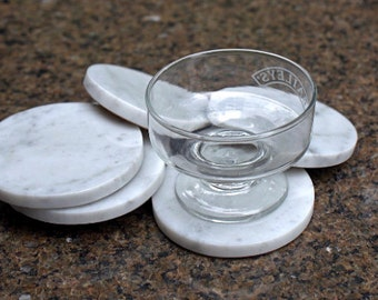 Marble coasters round shape natural stone handmade drink wear durable home decor