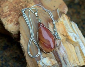 Mookaite jasper pear shape pendant silver wire wrapped with silver plated necklace,