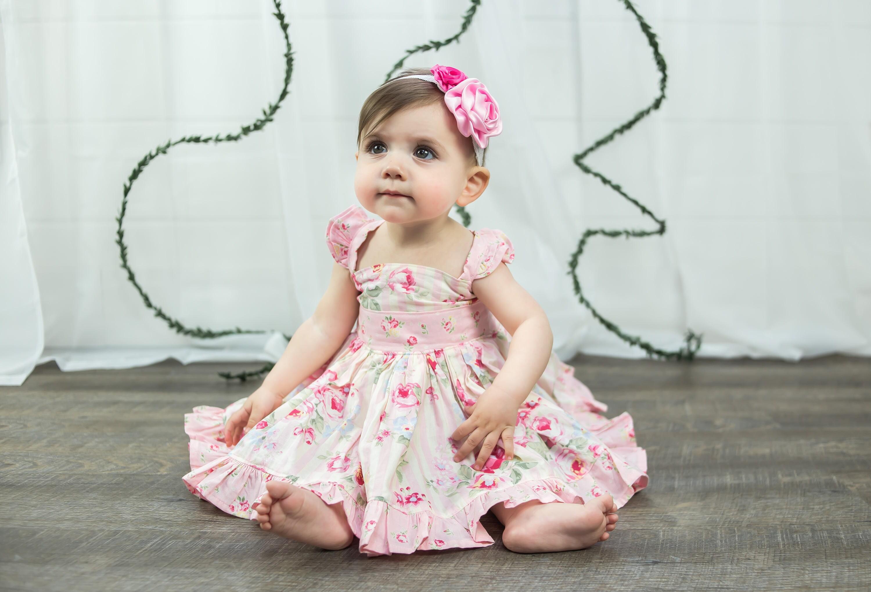 Flower Girl Dress Girl Twirl Dress Flutter Sleeve Dress Pink